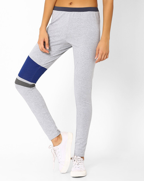 High-Rise Colourblock Leggings By AJIO ( Greymelange )