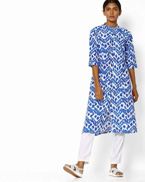 Printed Kurta With Mandarin Collar By Shree ( Blue ) - 460118155002