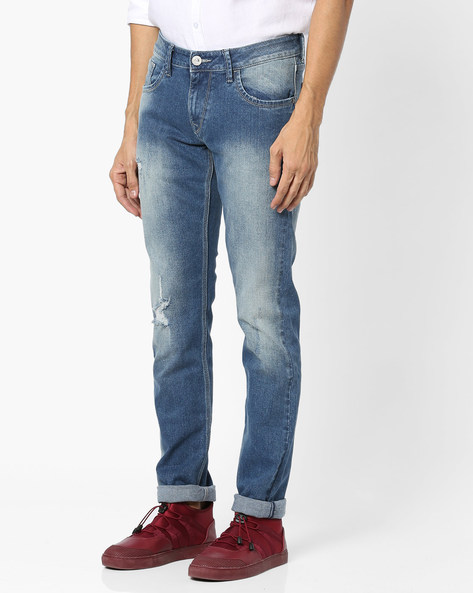 Distressed Tapered Michael Jeans By FLYING MACHINE ( Blue )
