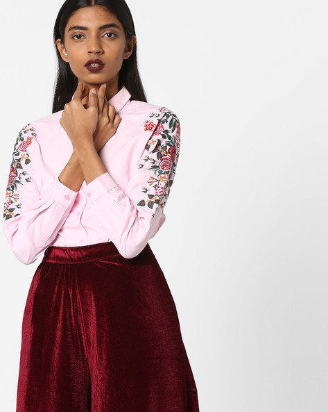 Shirt With Floral Embroidery By AJIO ( Pink )