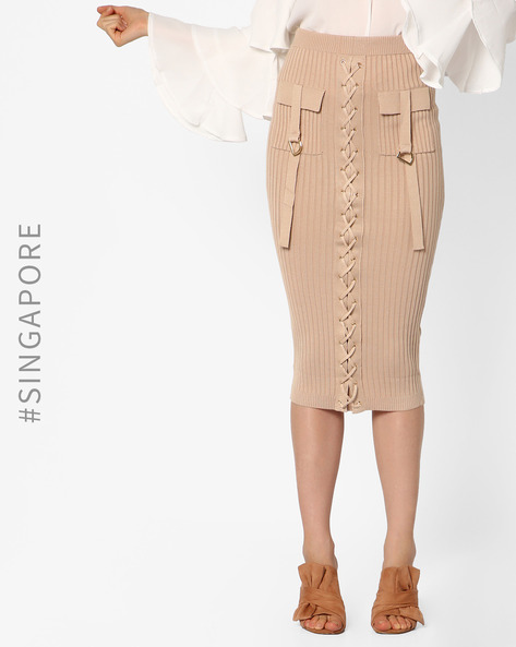 Lace-Up Bodycon Bandage Skirt By MDS ( Nude )