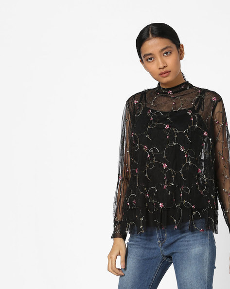 High-Neck Sheer Top With Floral Embroidery By Ginger By Lifestyle ( Black )