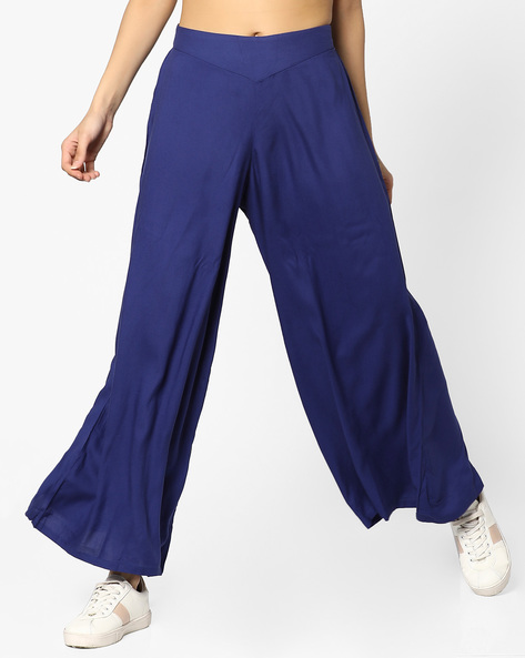 High-Rise Palazzo Pants By And ( Blue )
