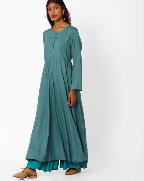 Maxi Dress With Button Placket By Khimsariya ( Olive )