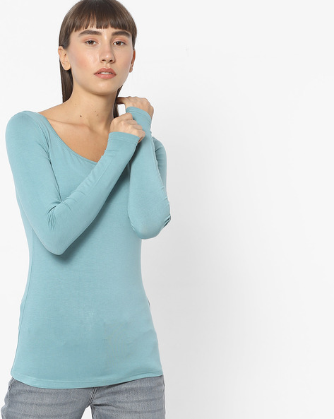 Knitted Top With Full Sleeves By CODE By Lifestyle ( Beige )