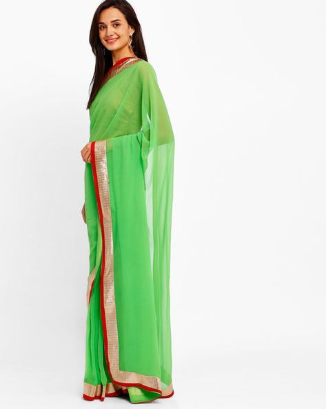 Chiffon Saree With Zari Border By Majestic Silk ( Limegreen )
