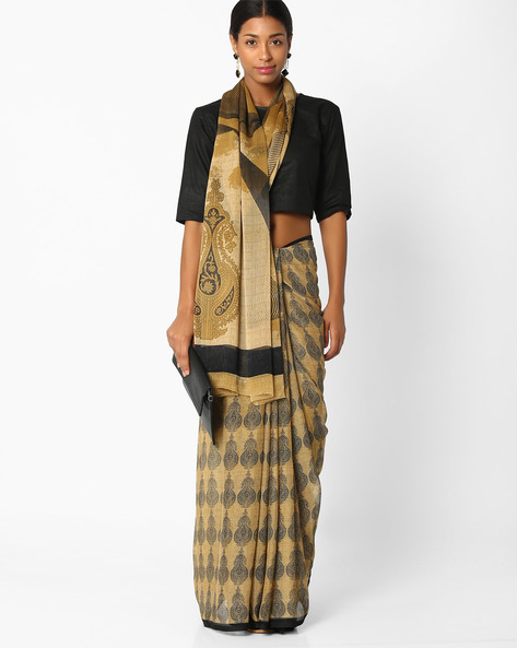 Printed Georgette Saree By Amori ( Beige )