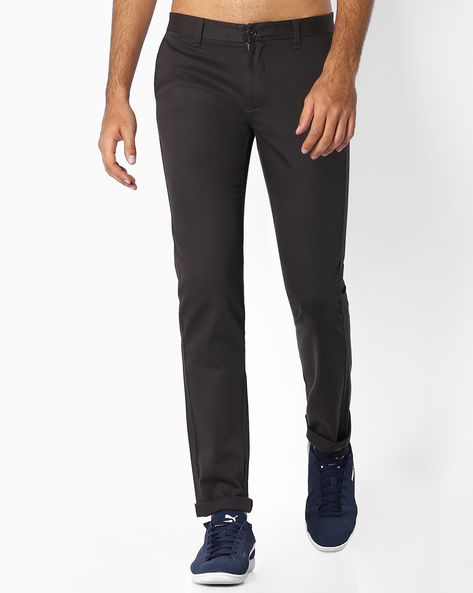 Flat-Front Slim Fit Trousers By INDIAN TERRAIN ( Darkgrey ) - 460060975010