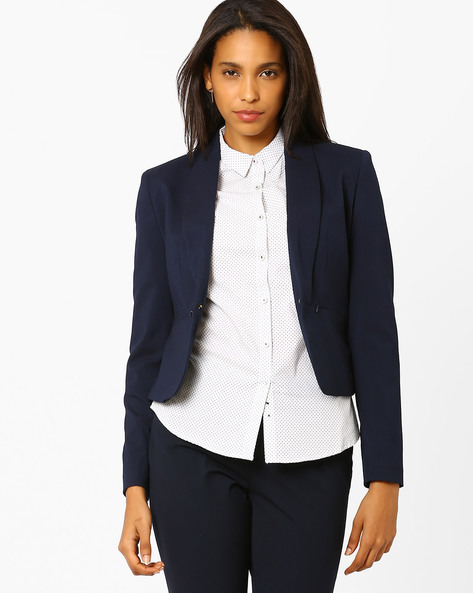 Cropped Blazer By Annabelle By Pantaloons ( Navyblue )