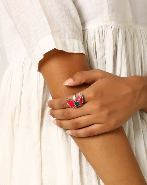 Crescent-Shaped Adjustable Ring By Indie Picks ( Pink )