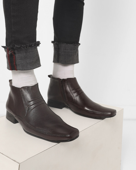 Panelled Boots With Zip Closure By Lee Cooper ( Brown )