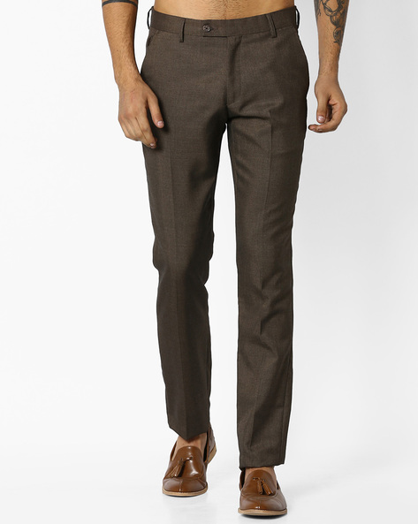 Slim Fit Formal Trousers By Black Coffee ( Brown )