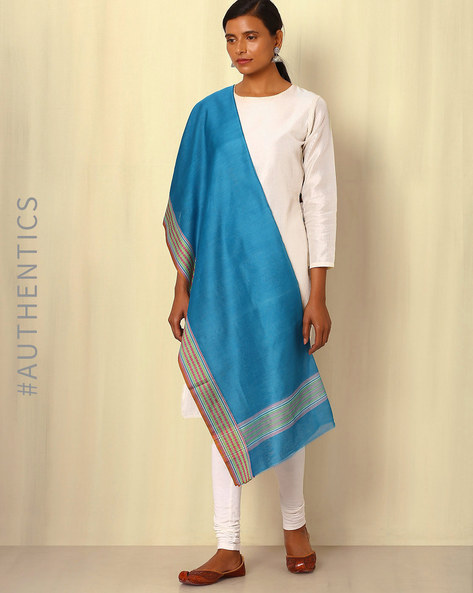 Handwoven Maheshwari Silk Cotton Dupatta By GoCoop ( Blue )
