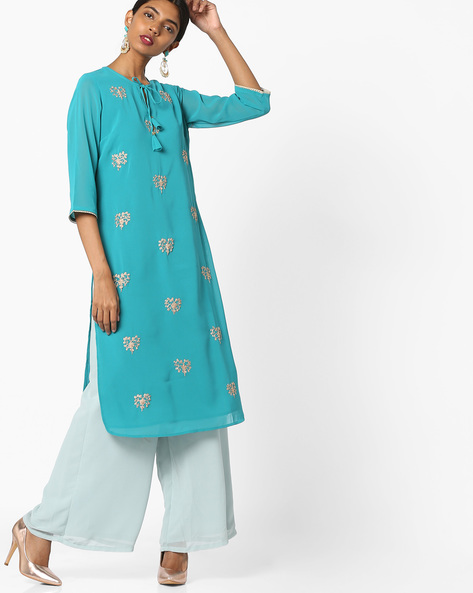 Embroidered Straight Kurta With Tie-Up By AJIO ( Green )