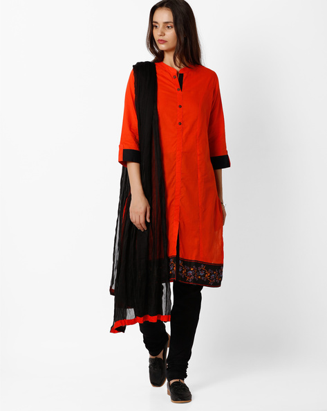 Churidar Kurta With Dupatta By AVAASA SET ( Orange )