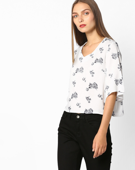 Floral Print V-neck Top By AJIO ( White )