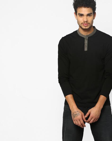 Henley T-shirt With Contrast Neckline By AJIO ( Black )