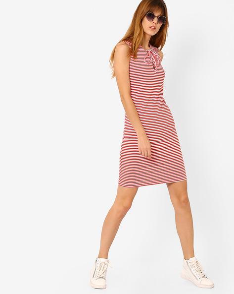 Striped Sleeveless Sheath Dress By AJIO ( Red )