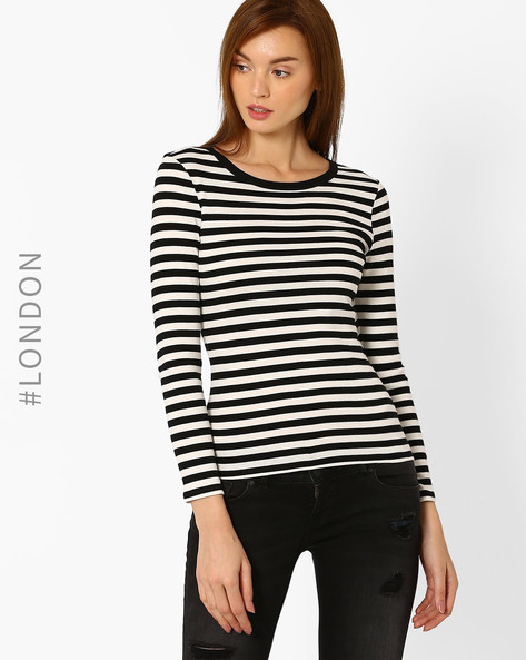 Striped Full-Sleeve T-shirt By Marks & Spencer ( Black )