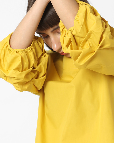 Top With Panelled Puff Sleeves & Boat Neck By Ginger By Lifestyle ( Yellow )