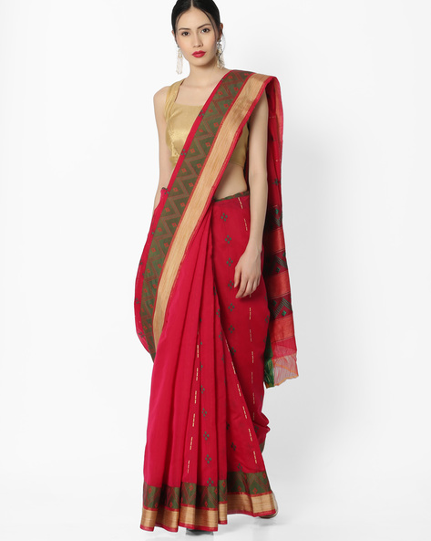 Cotton Saree With Contrast Weave By Amori ( Pink )