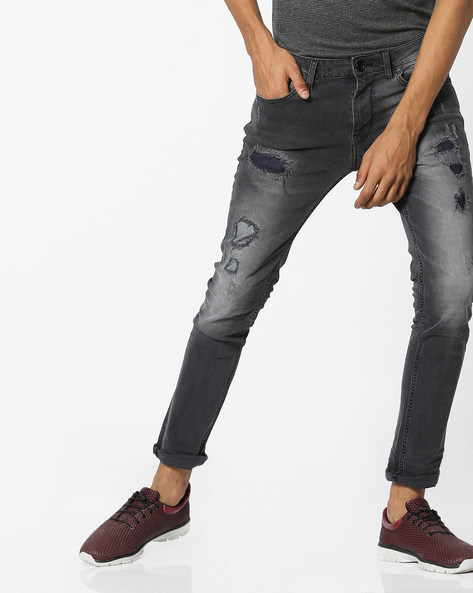 Mid-Washed Skinny Jeans With Distressing By VOI JEANS ( Grey )