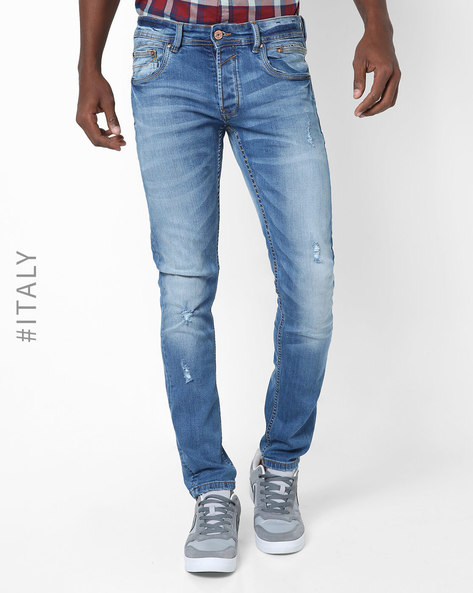 Relaxed Fit Distressed Jeans By ALCOTT ( Azzurre )
