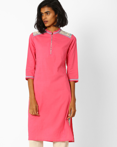 Straight Kurta With Contrast Detail By AJIO ( Pink )