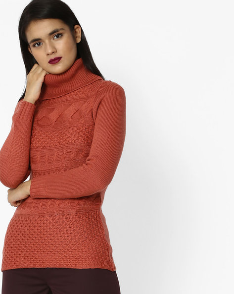 Woven Turtle-Neck Top By And ( Pink )