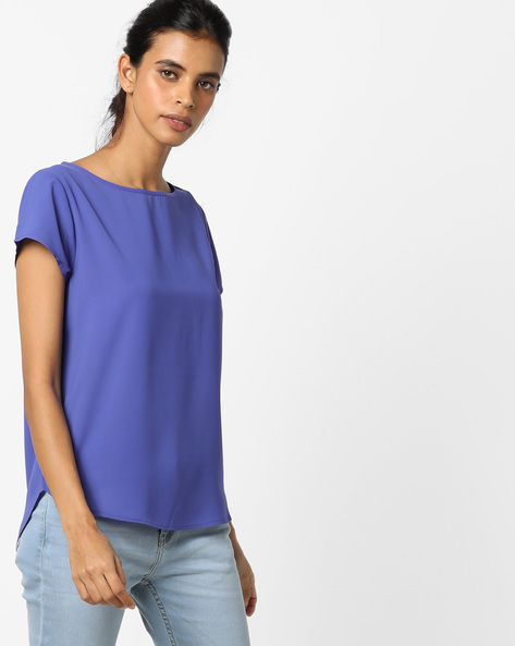 Top With High-Low Curved Hemline By UNITED COLORS OF BENETTON ( Blue )