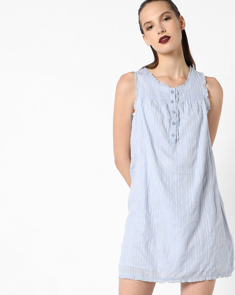 Sleeveless Cotton Camisole With Ruffles By Oxolloxo ( Blue )