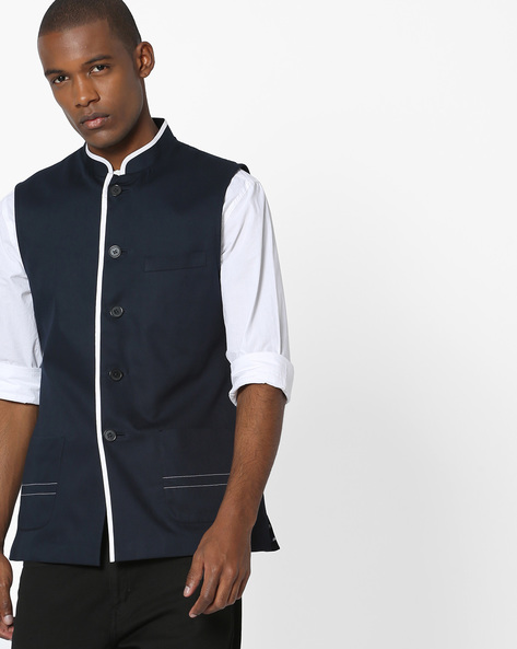 Slim Fit Nehru Jacket With Contrast Piping By MR.BUTTON ( Navyblue )