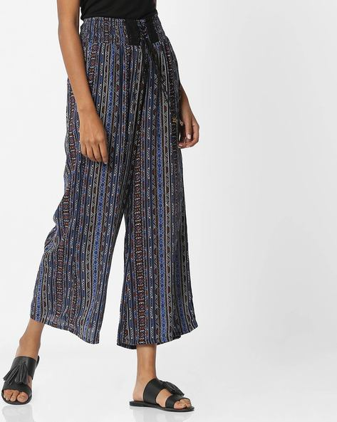 Printed Palazzo Pants With Tie-Up By COLOUR ME ( Blue )