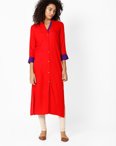 Straight Kurta With Mandarin Collar By Indian Ink ( Red )