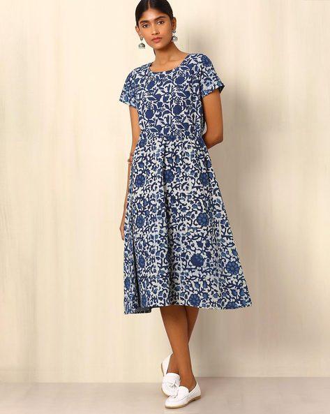 Indigo Block Print Cotton Dress By Ek Taara ( Blue )
