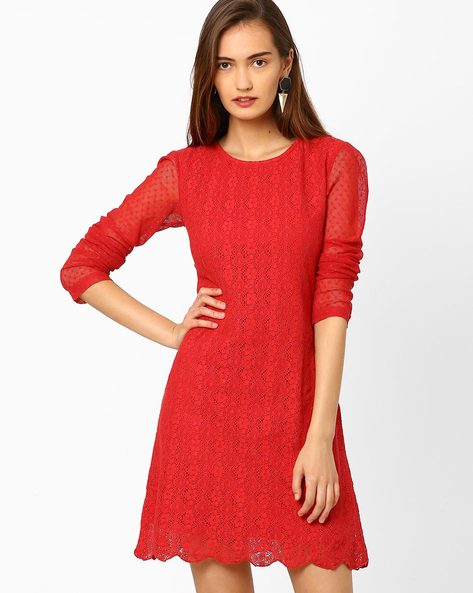 Lace Shift Dress By RIDRESS ( Red )