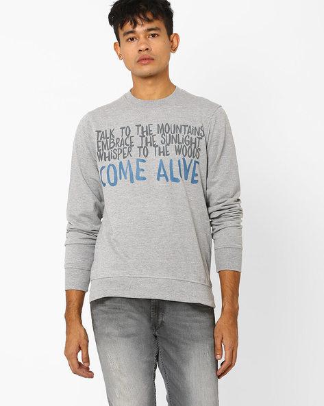 Typographic Print Crew-Neck Sweatshirt By Wildcraft ( Grey )