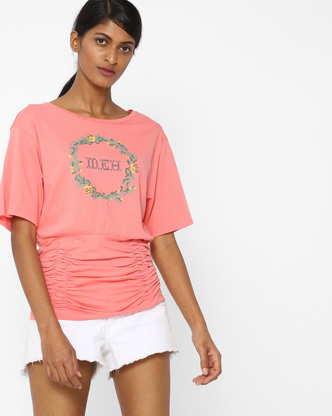 Printed T-shirt With Ruched Waist By AJIO ( Lightpink )