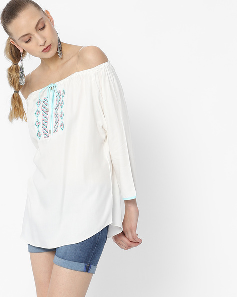 Off-Shoulder Top With Embroidery By KRAUS ( Offwhite )