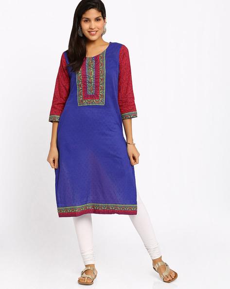 Printed Cotton Kurta By Rangriti ( Blue )