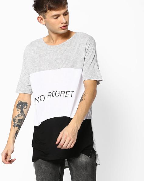Cut & Sew Longline T-shirt With Drop Shoulders By ADAMO LONDON ( Multi )