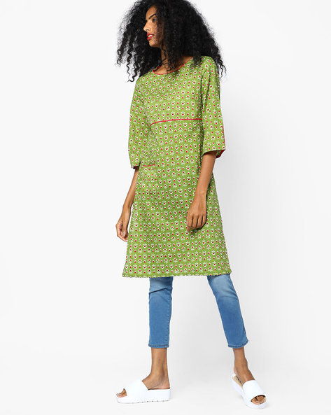 Printed Straight Kurta By AJIO ( Olive )