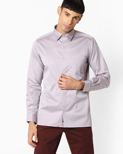 Slim Fit Shirt With Patch Pocket By VIMAL APPARELS ( Brown )
