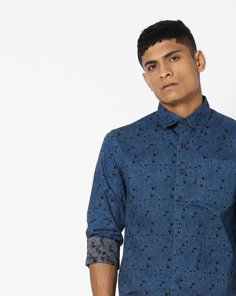 Printed Slim Fit Shirt With Patch Pocket By SHELTR ( Multi )
