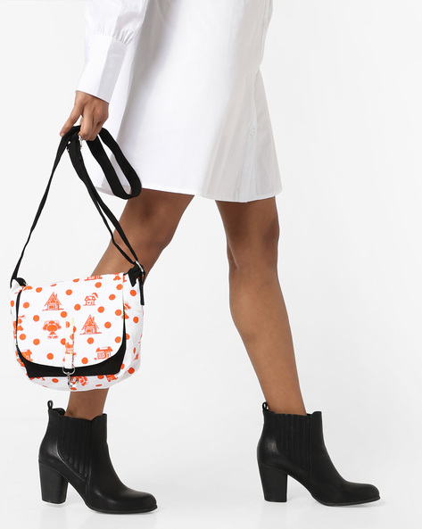 Printed Colourblock Sling Bag By Kanvas Katha ( Black )