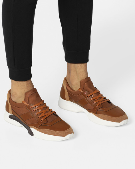 Panelled Lace-Up Shoes With Cut-Outs By AERO BLUEZ ( Tan )