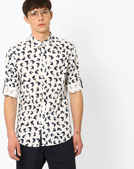 Geometric Print Slim Fit Shirt By AJIO ( Lightblue )