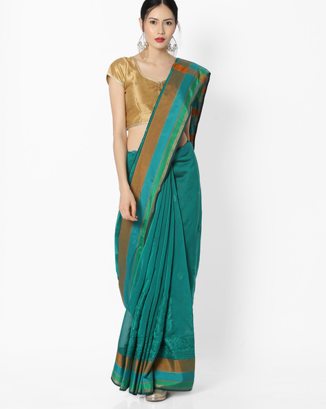 Embroidered Chanderi Silk Saree By Amori ( Green )