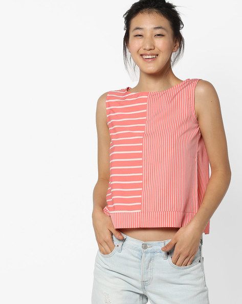 Striped Top With Slit Back By AJIO ( Coral )