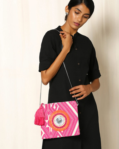 Cotton Jacquard Sling Bag By Indie Picks ( Pink )